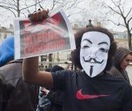 Dimostrazione anonima contro l'ACTA del Internet fotografia stock libera da diritti