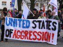 Dimostrazione contro la politica degli Stati Uniti Fotografie Stock Libere da Diritti