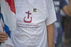 Dimostrazione contro le persecuzioni e le atrocità nell'Irak immagini stock libere da diritti