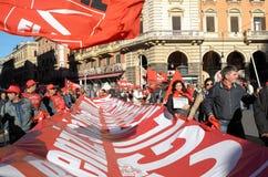 Dimostrazione dei sindacati a Roma Immagini Stock Libere da Diritti