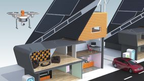 Dimostrazione del concetto della casa intelligente Alimentato da solare e da energia eolica illustrazione vettoriale