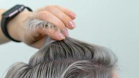 Dimostrazione della fine del movimento lento della pittura dei capelli di risultato sul colpo archivi video