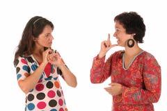 Dimostrazione della mano delle persone sorde Fotografia Stock