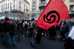 Dimostrazione di allievo a Milano il 14 dicembre 2010 Immagine Stock Libera da Diritti