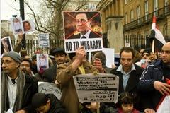 Dimostrazione di Anti-Mubarak, Londra immagini stock