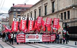 Dimostrazione di giorno Labour in Vitoria-Gasteiz Fotografie Stock