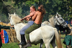 Dimostrazione equestre in costumi tradizionali Fotografie Stock Libere da Diritti