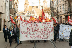 Dimostrazione francese contro lo stato d'emergenza del governo Fotografia Stock Libera da Diritti