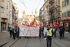 Dimostrazione francese contro lo stato d'emergenza del governo Fotografie Stock Libere da Diritti