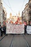 Dimostrazione francese contro lo stato d'emergenza del governo Immagine Stock