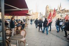 Dimostrazione francese contro lo stato d'emergenza del governo Fotografia Stock
