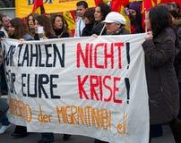 Dimostrazione il 28 marzo 2009 a Berlino, Germania fotografia stock libera da diritti