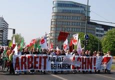 Dimostrazione il giorno di maggio a Berlino fotografia stock libera da diritti