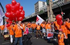 Dimostrazione il giorno di maggio a Berlino immagini stock libere da diritti