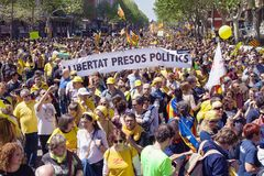 Dimostrazione massiccia aprile 2018 a Barcellona Fotografia Stock Libera da Diritti