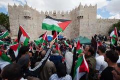 Dimostrazione palestinese a Gerusalemme Immagine Stock