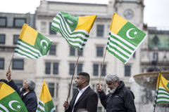 Dimostrazione Trafalgar Square Londra del Kashmir Fotografie Stock