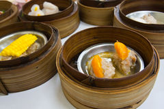 Dimsum in bamboo container Stock Photos