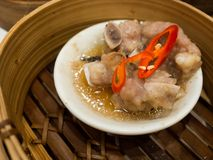 Dimsum on bamboo steamer, Chinese style Royalty Free Stock Photos
