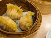 Dimsum on bamboo steamer, Chinese style Royalty Free Stock Photo