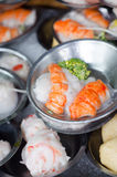 Dimsum chinese food on restaurant. Served in small metal place Stock Images