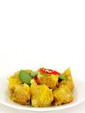 Dimsum cocido al vapor chino de la bola de masa hervida con el chile Fotos de archivo libres de regalías