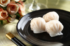 Dimsum hagao. On dish with  Chopsticks Stock Photography