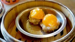 Dimsum morning tea food, steamed pork salted egg yolk Royalty Free Stock Photos