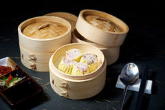 Dimsum set in bamboo container Royalty Free Stock Images