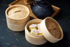 Dimsum set with teapot Royalty Free Stock Photos