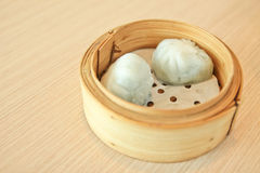 Dimsum on wood table Royalty Free Stock Image