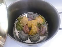 Dimsum y siomai chinos recientemente cocinados de la comida imagen de archivo