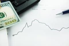 Dinámica de los tipos de cambio Carta del dólar y del euro Foto de archivo libre de regalías