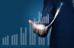 Dinámica del crecimiento en el mercado imagen de archivo