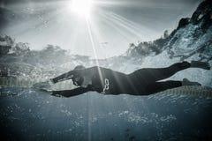 Dinâmico sem desempenho das aletas (DNF) do Underwater Fotografia de Stock