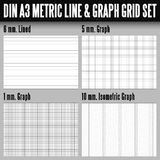 DIN A3 metric line and graph grid Stock Images