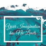 Din fantasi har inga gränser på konstnärlig färgrik gräsplanblåttbakgrund dragen vektorillustrationhand Arkivbild
