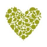 din form för hjärta för designenergifrukt stock illustrationer