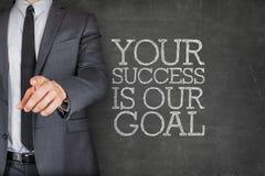 Din framgång är vårt mål på svart tavla Royaltyfri Foto