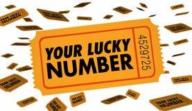 Din Lucky Number Winning Contest Raffle biljett Royaltyfri Fotografi