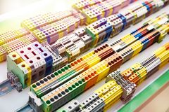 Din rail terminal block for electrical connector. Different type din rail terminal block for electrical connector in store stock photo