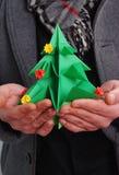 din tree för origami för juldesignillustration Royaltyfria Bilder