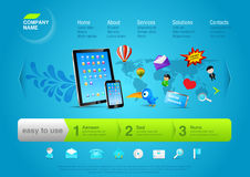 din website för produktpromomall vektor illustrationer
