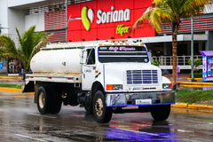 Dina S-600. ACAPULCO, MEXICO - MAY 31, 2017: Cistern truck Dina S-600 in the city street stock images