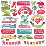 dina set valentiner för gullig dagdesignrosette Arkivbilder