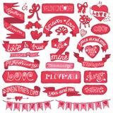 dina set valentiner för gullig dagdesignrosette Arkivbild