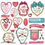 dina set valentiner för gullig dagdesignrosette Emblem etiketter, ramar Royaltyfria Foton