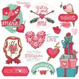 dina set valentiner för gullig dagdesignrosette Emblem hjärtor, etiketter Arkivfoton