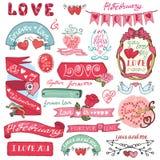 dina set valentiner för gullig dagdesignrosette Etiketter emblem, ram, hjärtor Arkivfoto