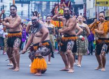 2018 Dinagyang Festival. ILOILO , PHILIPPINES - JAN 28 : Maori dancers in the Dinagyang Festival in Iloilo Philippines on January 28 2018. The Dinagyang is Royalty Free Stock Image